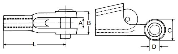 """Tipo Portata kg. Per fune diametro mm. pollici DIMENSIONI Peso kg.   A mm. B mm. C mm. D mm. L mm.   AUBL10 1.500 9÷10 3/8 20,5 42 42 20,6 120 1,5   AUBL13 2.500 11÷13 1/2 25 51 50 25 146 2,2   AUBL16 4.000 14÷16 5/8 31 60 60 30 176 3,8   AUBL19 5.000 18÷19 3/4 38 71 70 35 212 6   AUBL22 7.000 20÷22 7/8 44 82 82 41 240 10   AUBL26 10.000 24÷26 1"""" 51 95 102 51 275 14,5   AUBL28 12.000 28 1""""1/8 57 108 114 57 310 20   AUBL32 16.000 32 1""""1/4 63 121 128 64 345 25   AUBL35 18.000 35 1""""3/8 69 125 128 64 400 40   AUBL38 22.000 38 1""""1/2 76 138 140 70 450 54   AUBL41 28.000 41 1""""5/8 76 142 152 76 500 68   AUBL46 38.000 44÷48 1""""7/8 89 167 178 89 550 105   AUBL51 45.000 51 2""""1/8 101 193 190 95 650 135   AUBL56 60.000 56 2""""3/8 115 220 216 108 660 180   AUBL63 75.000 63 2""""5/8 127 247 242 121 840 260   AUBL75 85.000 75 3""""1/8 146 298 266 133 1.000 330    I capicorda autobloccanti """"AUBL"""" permettono di montare e smontare facilmente e rapidamente le funi dagli attacchi. Utilizzare solamente funi a 6 e 8 trefoli di appropriato diametro e con portata idonea al tipo di capocorda. Prima del montaggio controllare sempre che la fune ed il capocorda non presentino difetti di alcun tipo. Nei disegni a seguire mostriamo il modo esatto di come applicare il capocorda """"AUBL"""" sulla fune."""