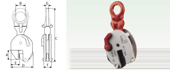 Morse VERTEX solleva lamiere in verticale tipo VPU-VPH - Attacco con snodo universale